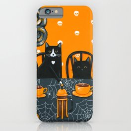 Halloween French Press Coffee Cats iPhone Case