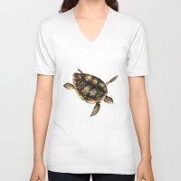 sea turtle V-neck T-shirts featuring Sea turtle by Anna Yudina