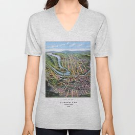 CUMBERLAND MARYLAND city old map Father Day art print poster Unisex V-Neck