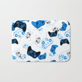 Video Game White and Blue Bath Mat