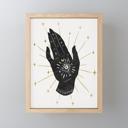 Mystic Hand with Eye - Black and Gold Ink Framed Mini Art Print