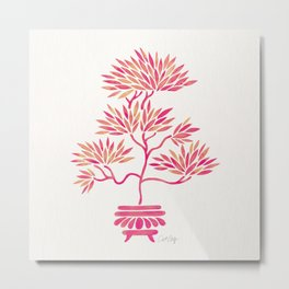 Bonsai Tree – Pink Palette Metal Print