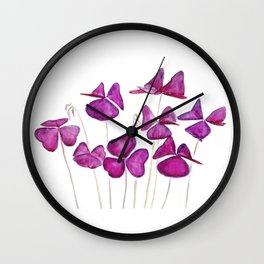 purple clover leaves Wall Clock
