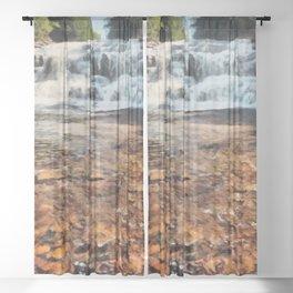 Agate Falls - Interior Township, Michigan's Upper Peninsula Sheer Curtain