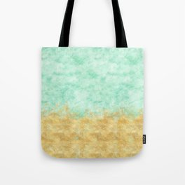 Pretty Mint Gold Glam Watercolor Tote Bag