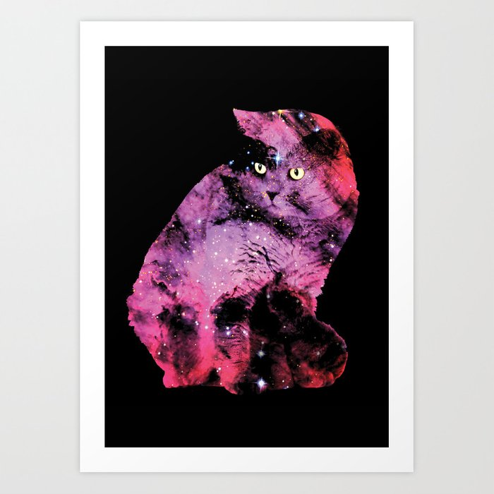 Celestial Cat - The British Shorthair & The Pelican Nebula Art Print