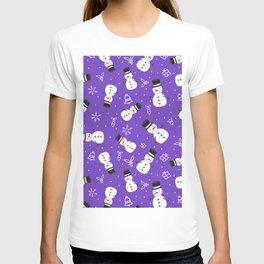 Snowmen on Purple Christmas Pattern Digital Graphic Design T-shirt