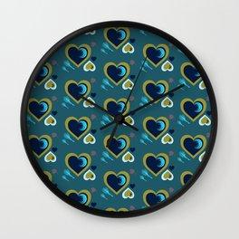 Hearts in Peacock Wall Clock