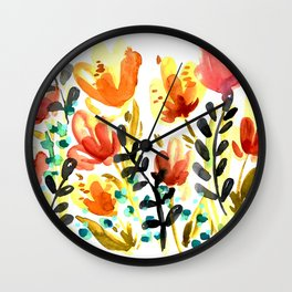 Watercolor Wildflowers Wall Clock