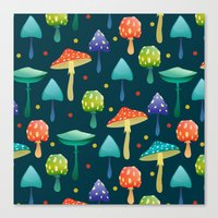 mushrooms Canvas Prints featuring Mushrooms by Julia Badeeva