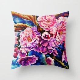 Bloom Floral Sun Fuchsia Pink Art Throw Pillow