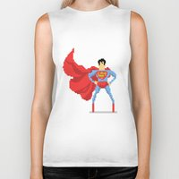 superman Biker Tanks featuring Superman by Bastonmag