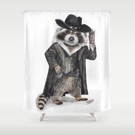 """ Raccoon Bandit "" funny western raccoon Shower Curtain"