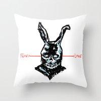 donnie darko Throw Pillows featuring Donnie Darko: FEAR • FRANK • LOVE by Stephan Brusche