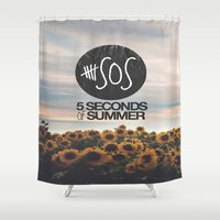 5 seconds of summer Shower Curtains featuring 5 seconds of summer sunflowers by Rose