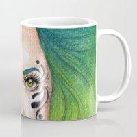 fierce Mugs featuring Fierce  by StaceyPatinoArt