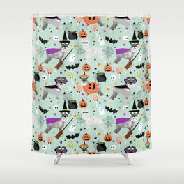 Schnauzer dog breed halloween costumes cute dog gift for fall autumn Shower Curtain
