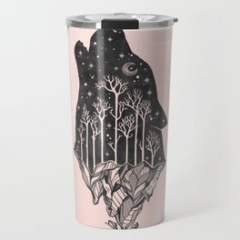 Adventure Wolf - Nature Mountains Wolves Howling Design Black on Pale Pink Travel Mug