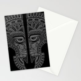 Gray and Black Aztec Twins Mask Illusion Stationery Cards