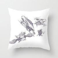 ninja turtles Throw Pillows featuring Ninja Turtles by MrDenmac