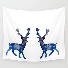 Winter Deer Snowflakes Wall Tapestry