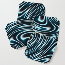 Blue and Black Licorice Ribbon Candy Fractal Coaster