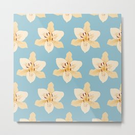 Day Lily Illustrative Pattern on Light Blue Metal Print
