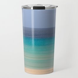 ocean landscape with sand beach and colorful water Travel Mug