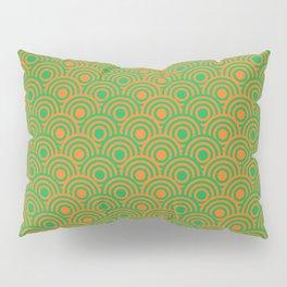 op art pattern retro circles in green and orange Pillow Sham