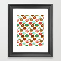 Christmas festive donuts holiday dessert junk food foodie pattern print red and green Framed Art Print