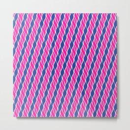 Blue and Pink Wispy Stripes Metal Print