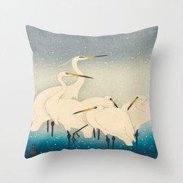 Ohara Koson Egrets on a Snowy Night 1927 Throw Pillow