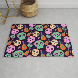 Cute Colorful Dios De Los Muertos Sugar Skulls and Guitars Pattern Rug