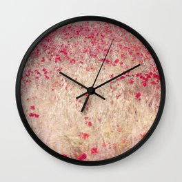 Fields of poppies Wall Clock