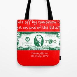Jefferson USA Dollar Funny America Father Gift Tote Bag