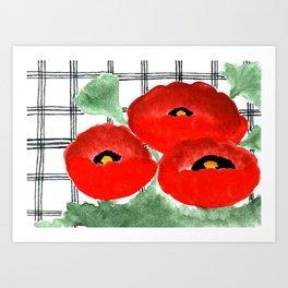 Poppies and Plaid Art Print