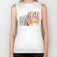 zebra Biker Tanks featuring Zebra by graphicinvasion
