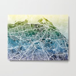 Edinburgh Scotland Street Map Metal Print