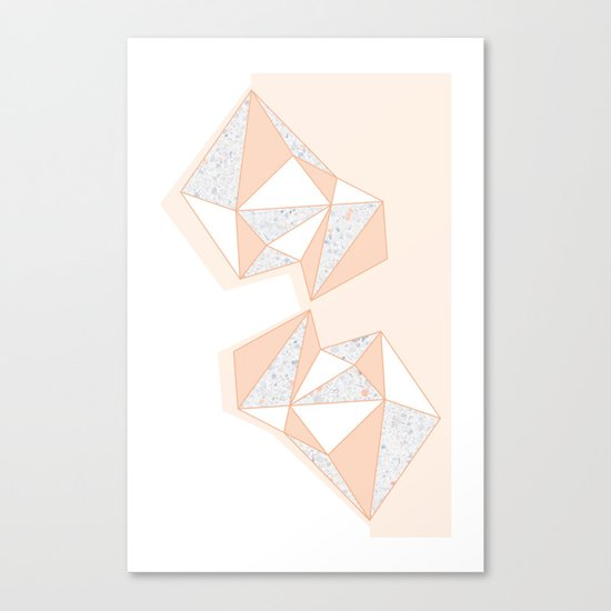 Geometric Nude Color Terrazzo Abstract Design Canvas Print