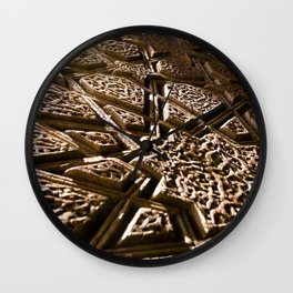 Photograph Earthy Brown Clay Star Pattern Islamic Architecture Detail Wall Clock