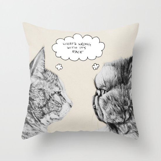 Cat Confusion Throw Pillow