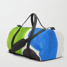 Mid Century Modern Retro Minimalist Colorful Shapes Phthalo Blue Lime Green Native Pebbles Duffle Bag