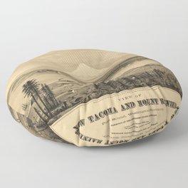 Tacoma and Mount Rainer, Washington (1878) Floor Pillow