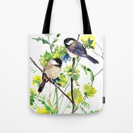 chickadees and Spring Blossom Tote Bag