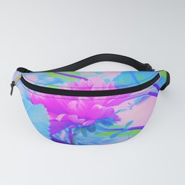 Pink and Purple Dahlia on Blue Digital Oil Painting Fanny Pack