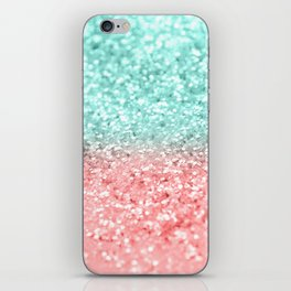 Summer Vibes Glitter #1 #coral #mint #shiny #decor #art #society6 iPhone Skin