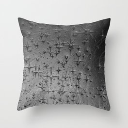 Black Clay Star Etching Texture Throw Pillow