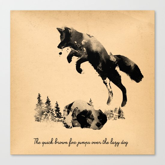 The quick brown fox jumps over the lazy dog Canvas Print