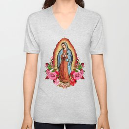 Our Lady of Guadalupe with roses Unisex V-Neck