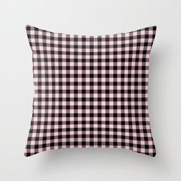 Light Soft Pastel Pink and Black Buffalo Check Plaid Throw Pillow